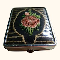 Art Deco Needlework Cover Rouge And Powder Compact