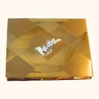 Volupte Gold Tone with Clear Rhinestones Powder Compact