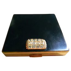 Black Enamel Vogue, England Vanities Powder Compact