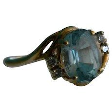 14 K Yellow Gold Natural Brazilian Aqua Marine with Four Small Diamond Ring