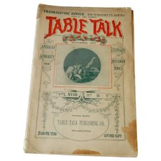 Table Talk Magazine, November, 1903, Thanksgiving Issue