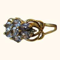 Natural Tanzanite 10 k Yellow Gold Ring