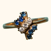 14 k Yellow Gold Natural Sapphire and diamond Ring