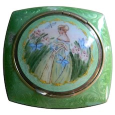 Art Deco Evans Tap Sift Powder and Rouge Enamel Compact