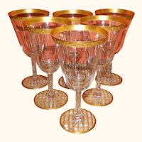 Set of 6 Tiffin Gold Encrusted Wine Glasses
