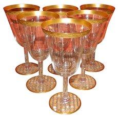 Set of 6 Tiffin Gold Encrusted Wine Glasses