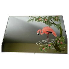 Pink Flamingo Tropical Scene Mirror