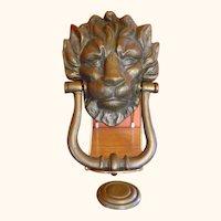 Large Brass Lion Head Door Knocker