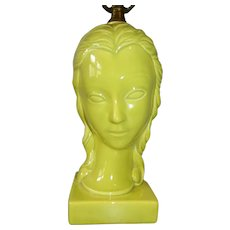 Ceramic Chartreuse Lady Head Table Lamp