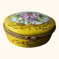 Limoges France Yellow Hinged Porcelain Oval Box