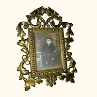 Antique Metal Picture Frame With Sailor Boy Picture