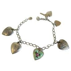 1930's Sterling Silver Puffy Heart Charm Bracelet