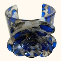 Acrylic Wide Cuff Bracelet With Large Flower Center