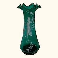 Early Mary Gregory Hand Blown Bottle Green Glass Vase