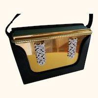 Volupte Rhinestone Jeweled Compact with Black Cloth Purse