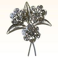 Silver Tone Filigree Floral Brooch