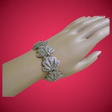 Vintage Silver Tone Filigree Bracelet 1930-50's
