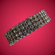 1950's Expandable Bracelet with Four Rows of Aurora Borealis Rhinestones