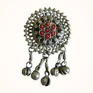 Beautiful Pendant with Red Stones and Hanging Bells, India