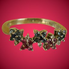 Vintage 18kt 750 White Gold Ring with Sapphires, Rubies and Diamonds