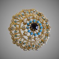 Vintage Gold Tone Brooch with Clear Rhinestones, Faux Pearls and Turquoise Colored Beads