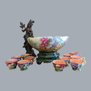 Limoges Punch Bowl with Pedestal Plinth and 10 Handled Cup