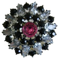Lovely Black, Pink and Clear Rhinestone Brooch Mid-Century