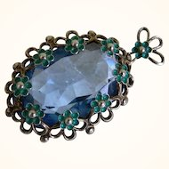 Vintage  Czech Pendant With a Faceted Blue Glass Stone