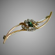 Krementz Signed Gold Overlay Brooch with Marquis Cut Green Rhinestone Surrounded by Clear Rhinestones