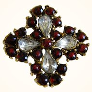 Beautiful Brooch with Red Stones and Tear Drop Crystal Rhinestones 1940-1950's