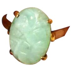 14K Gold Ring with Carved Jade Stone