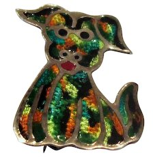 Mexican Silver and Enamel Dog Pin