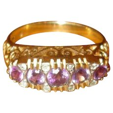 Vintage 10K Gold Ring with Amethysts and Diamonds