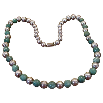 """28"""" Mexican Sterling And Green Onyx Bead Necklace"""