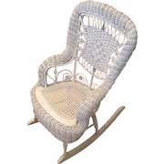 Victorian Children's White Wicker Rocking Chair