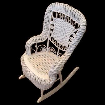 Victorian Children's White Wicker Rocking Chair