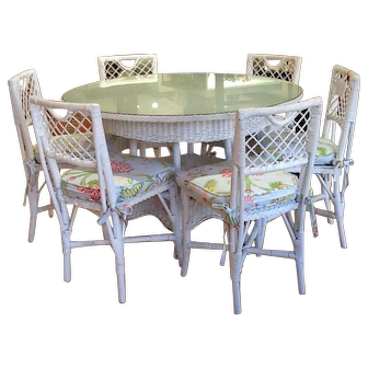 Vintage White Wicker Breakfast Table with Six Chairs