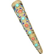 Asian Silver Filigree Posy Pin with Coral & Turquoise