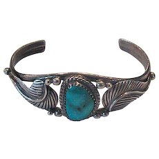 Vintage Native American Sterling & Turquoise Cuff Bracelet