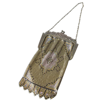 Small Metal Flapper Purse w Gems in Frame PERFECT