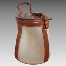 Vintage Limited Edition Hermes Feedbag Bucket Bag Leather & Fabric w Original Box and New Dust Bag