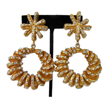 Vintage Christian Lacroix Signed Dangle Hoop Earrings Gold Tone Bejeweled Clip-Ons