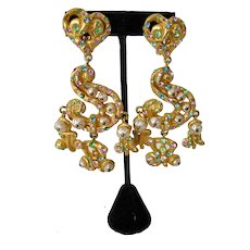 Vintage Christian Lacroix Dangle Earrings Gold-tone Multi-color Crystals & Faux Pearls Huge Signed
