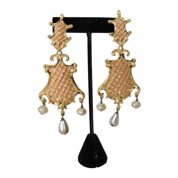 Vintage Christian Lacroix Dangle Earrings Gold-tone w Faux Pearls Art to Wear Large Signed