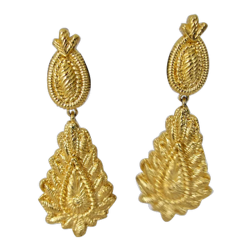 Vintage Christian Lacroix Dangle Earrings Gold-tone Art to Wear Signed Clip-on Large