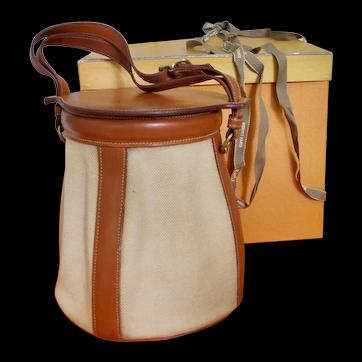 Vintage 1980's Hermes Bucket Bag Limited Edition Beige Canvas & Leather w Original Box & Ribbon & New Dust Bag