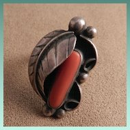 Navajo Style Silver and Coral Ring