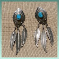 Navajo Style Sterling Silver Feather Earrings