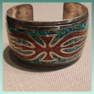 Singer Style Chip Inlay Bracelet With Coral, Turquoise and Silver