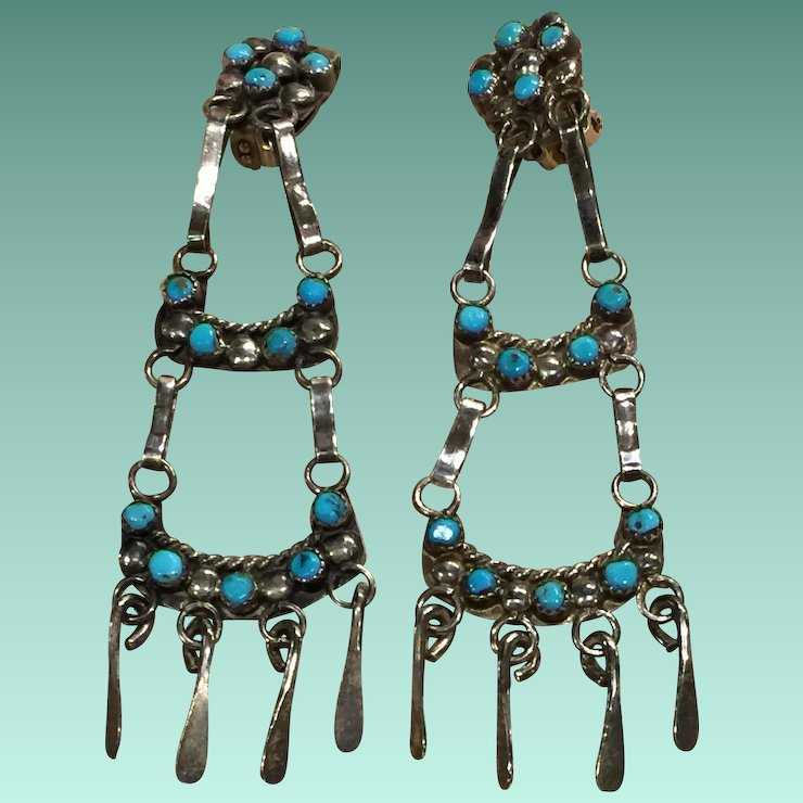 Zuni Style Turquoise Dangle Clip Earrings